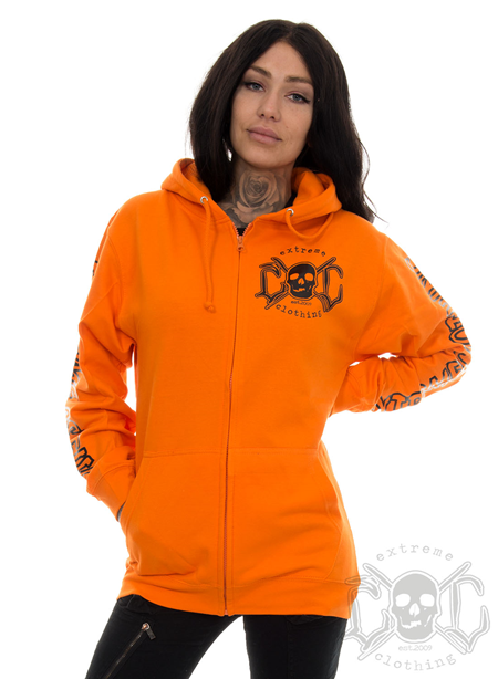 eXc E A F Boyfriend Zip Hoodie Orange N Black