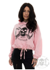 eXc Skull Cropped Oversize Hoodie, Pink