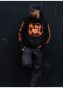 eXc E A F Unisex Cross Neck Hoodie, Black N Orange