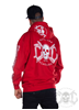 eXc E A F Men Zip Hoodie Red N White