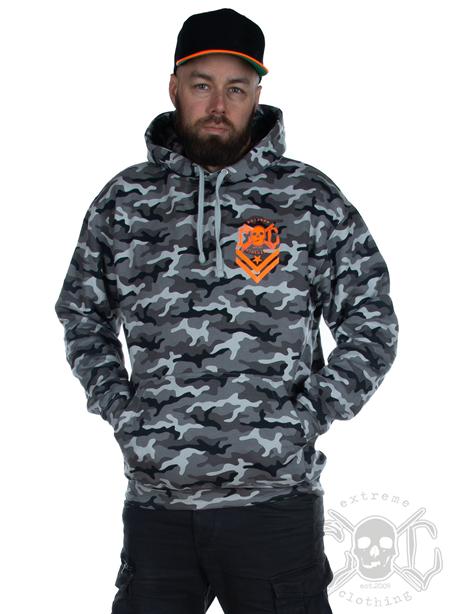 eXc Snowcamo Orange Skull Hoodie Unisex