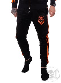 eXc 2 Stripe Velour Pants, Black N Orange