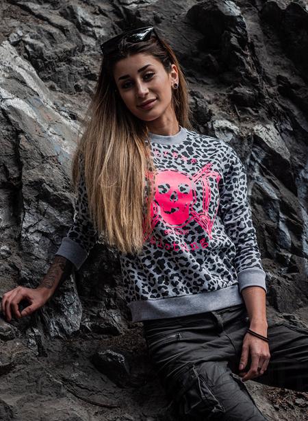eXc Pink Skull Leopard Sweatshirt