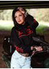 Dirty Dirty Cropped Hoodie, Black N Red