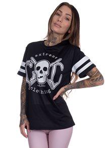 eXc Black N White Striped Skull Mesh Tee