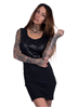 eXc Skull Deep Side Cut Dress, Black