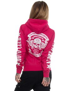 eXc Moto Club Sweden Zip Hoodie, Hot Pink