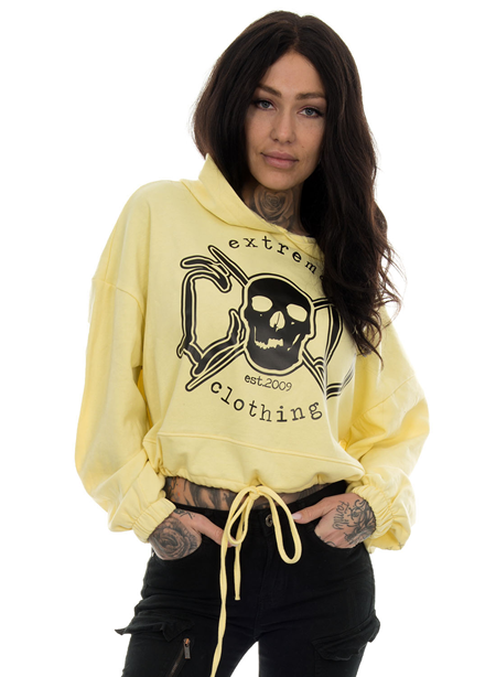 eXc Skull Cropped Oversize Hoodie, Yellow