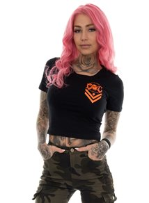 eXc New Skull logo Cropped Tee, Black N Orange