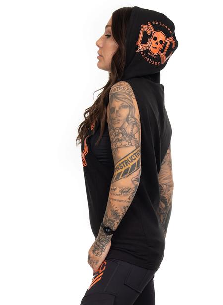 eXc Sleeveless Unisex Muscle Hoodie, Black N Orange