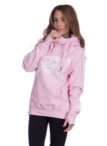 eXc E A F Cross Neck Hoodie, Pink/White