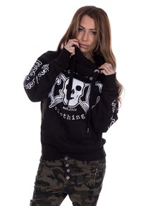eXc E A F Cross Neck Hoodie Unisex, Black/White