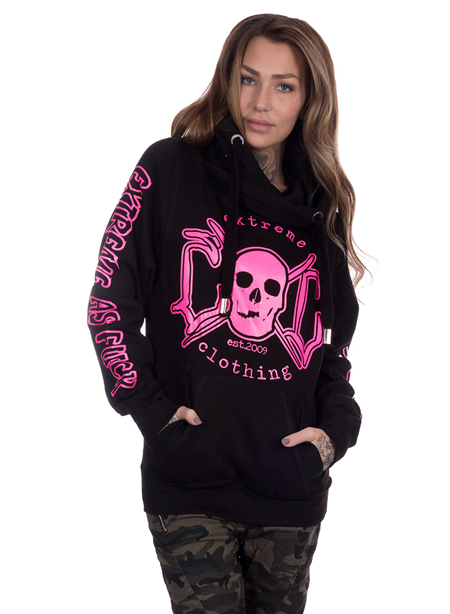 eXc E A F Cross Neck Hoodie, Black/Pink