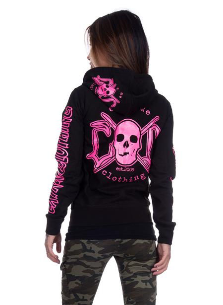 eXc E A F Zip Logo Hoodie Black N Pink