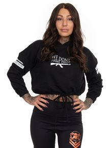 Rebel For Life We Don´t Name Drop Cropped Oversize Hoodie, Black