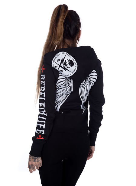 Rebel For Life Winged Hoodie White/Red