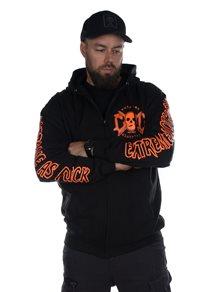 eXc E A F Men Zip Hoodie Black N Orange