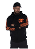 eXc E A F Men Zip Hoodie Black N Orange