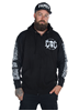 eXc E A F Men Zip Hoodie Black N White
