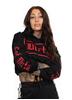 Dirty Dirty Cropped Hoodie, Black N Red