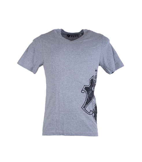T-shirt grå med svart sköld på sidan