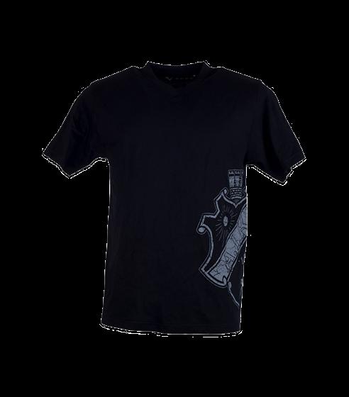 T-shirt svart med grå sköld på sidan