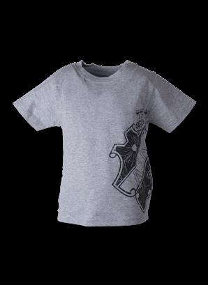 T-shirt grå med svart sköld på sidan barn