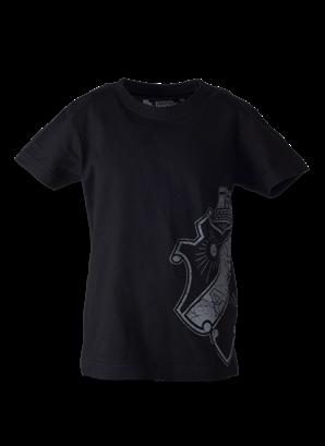 T-shirt svart sköld sidan