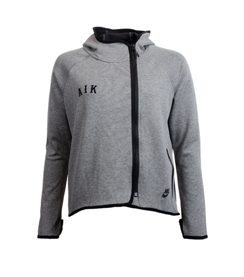 Nike techfleece ziphood grå dam