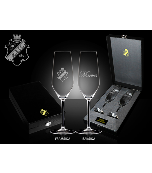 Glas champagne med personlig gravyr