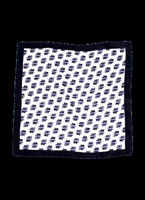 Sidennäsduk svart/vit sköld