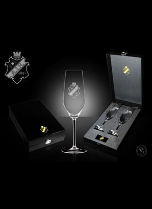 Glas 2p Champagne sköld
