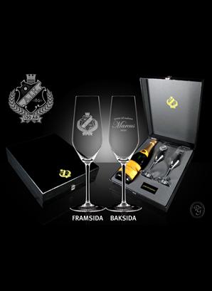Studentglas 2021 Champagne 2-p med plats för flaska