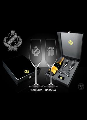 Champagne glas 2-p med plats för flaska