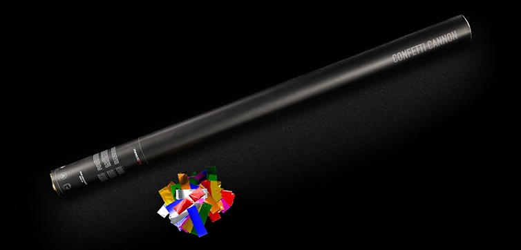 Confetti cannon 80 cm Multi color Metallic