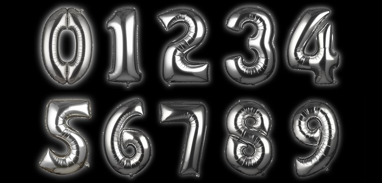 Foil balloon Silver Numbers 100 cm