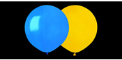 Blue and yellow big round balloons
