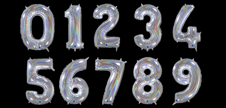 Holygraphic glitter number balloon
