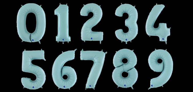 Pastel blue balloon numbers