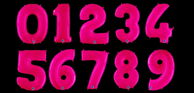 Neon pink number balloon