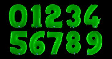 Neon green number balloon