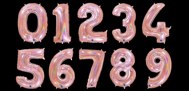 Holygraphic pink number balloon