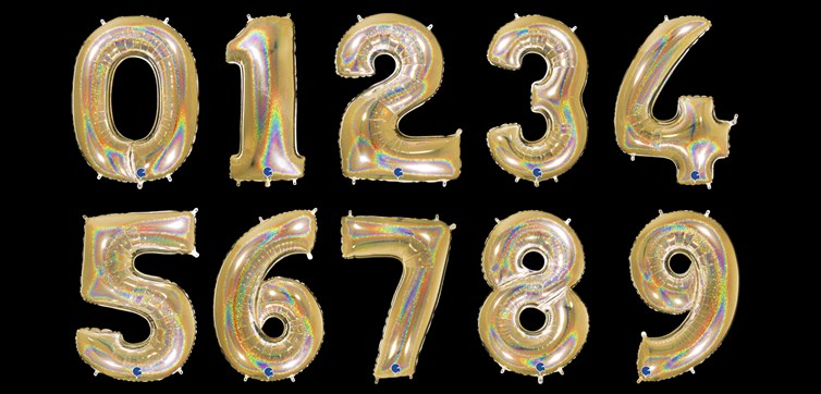 Gold glitter number balloon