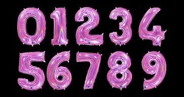 Pink glitter number balloon