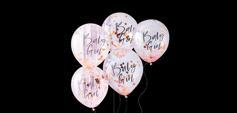 Baby girl pink baby shower balloons