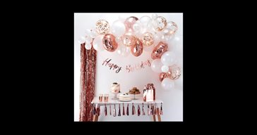 Balloon arch rose gold and confetti