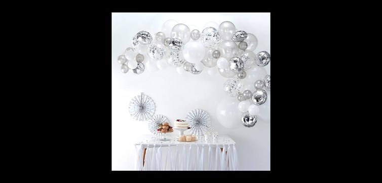 Balloon arch kit silver and confetti