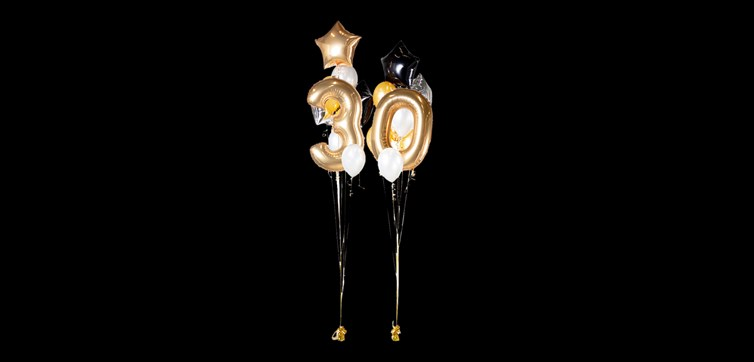 Balloon bouquet Happy Birthday 30 Gold