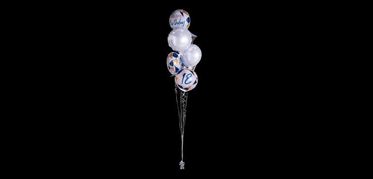 Balloon bouquet Happy Birthday 18 Marble Gold/Blue