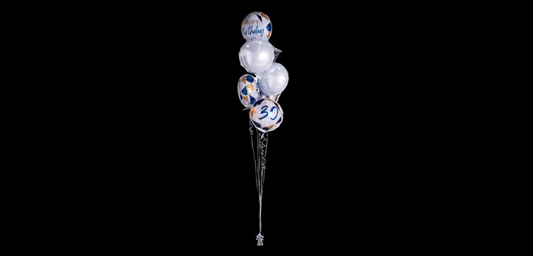Balloon bouquet Happy Birthday 30 Marble Gold/Blue
